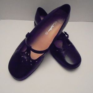 black LEATHER Mary Jane Shoes womens 11.5M
